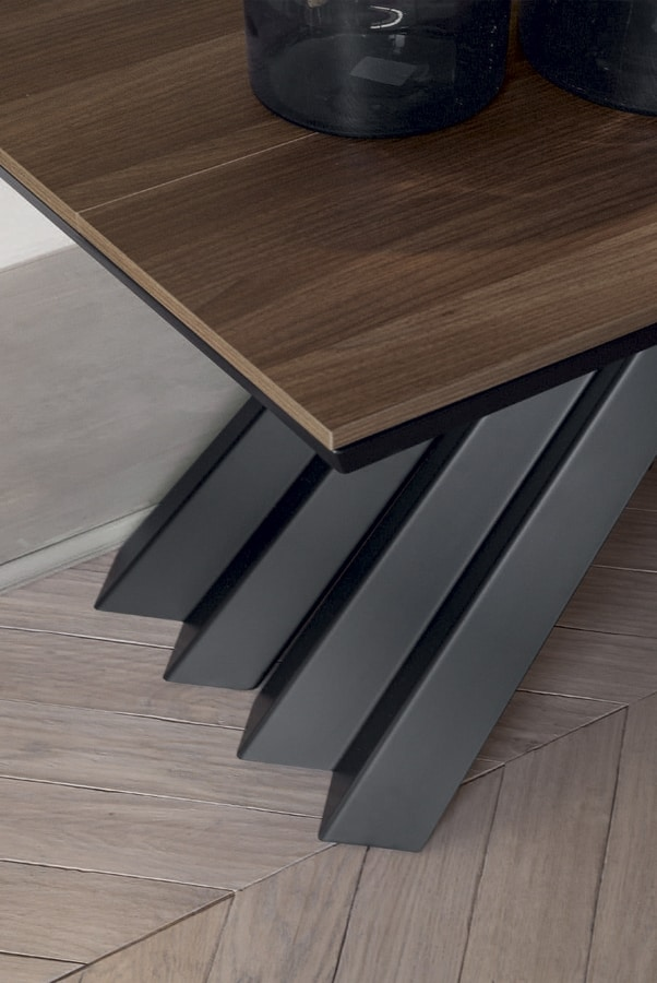 VENTAGLIO  CONSOLLE, Console with shaped lacquered metal base and wood-effect tops