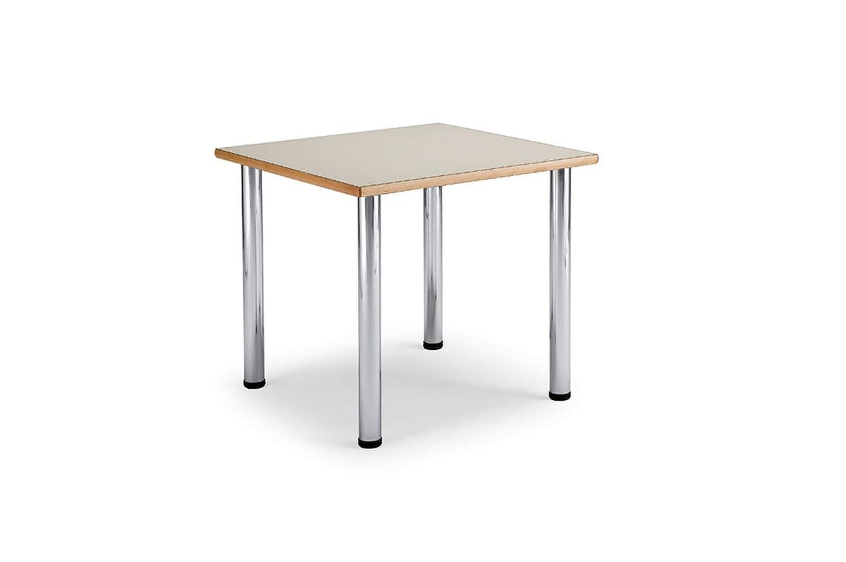 Arno 3 1622, Square table with legs made of chromed steel