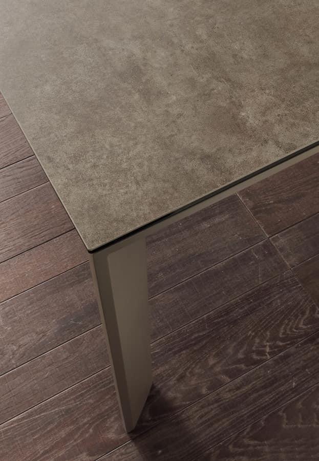 Art. 630 Ceramique, Telescopic extendable table in metal and ceramics