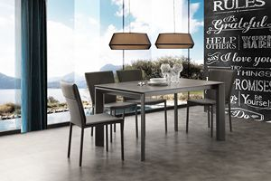 Art. 630 Ceramique, Telescopic extendable table in metal and ceramics