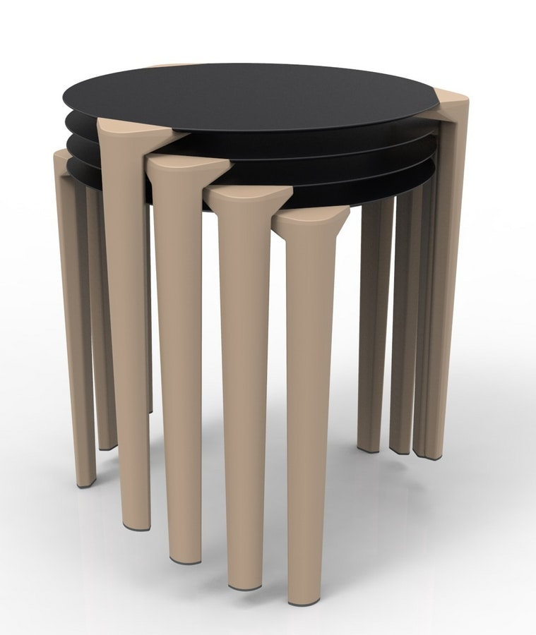 Close-4, Stackable outdoor table, for restaurants and bars