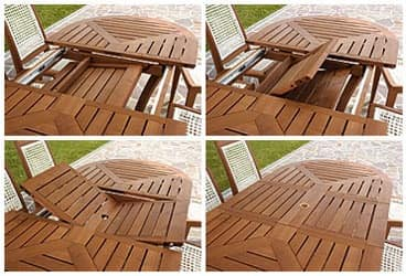 Eclypse extendable oval table, Extending oval table in wood for garden