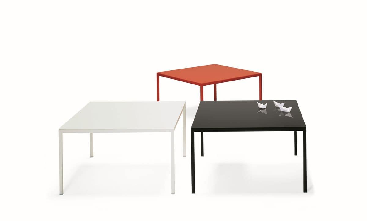 Ernesto Ice Outdoor, Square table, in lacquered aluminum, top available in various materials