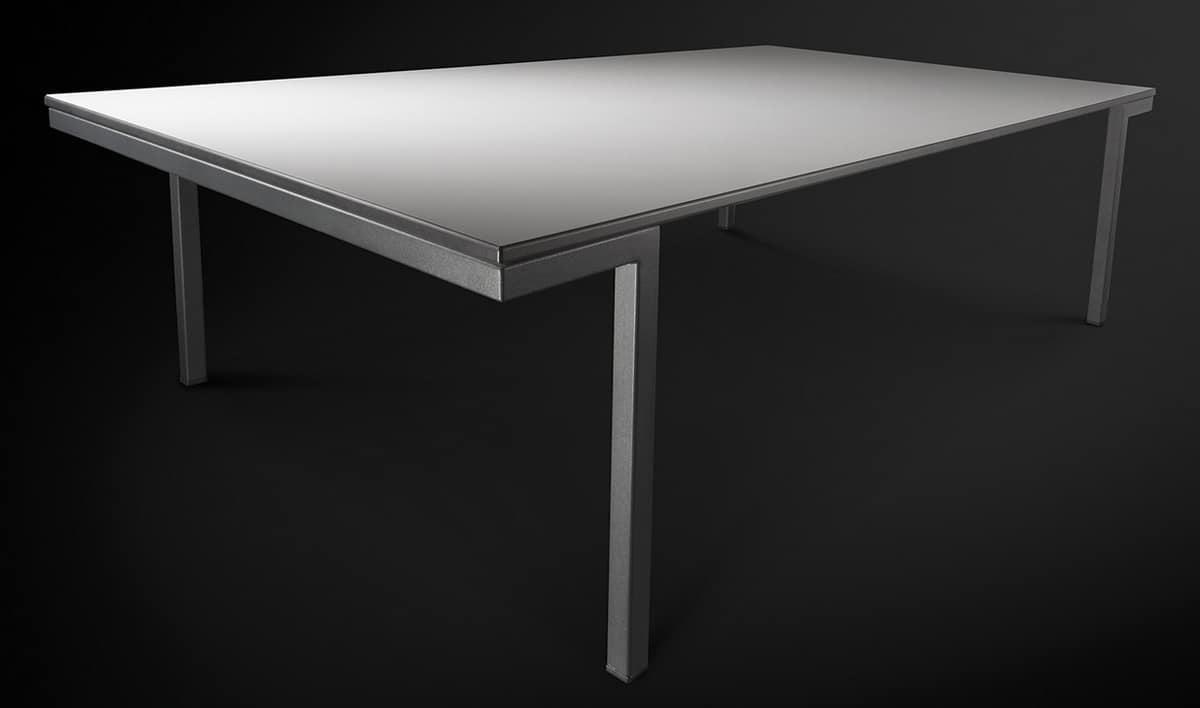 Hall, Metal table with laminated top, for dining room