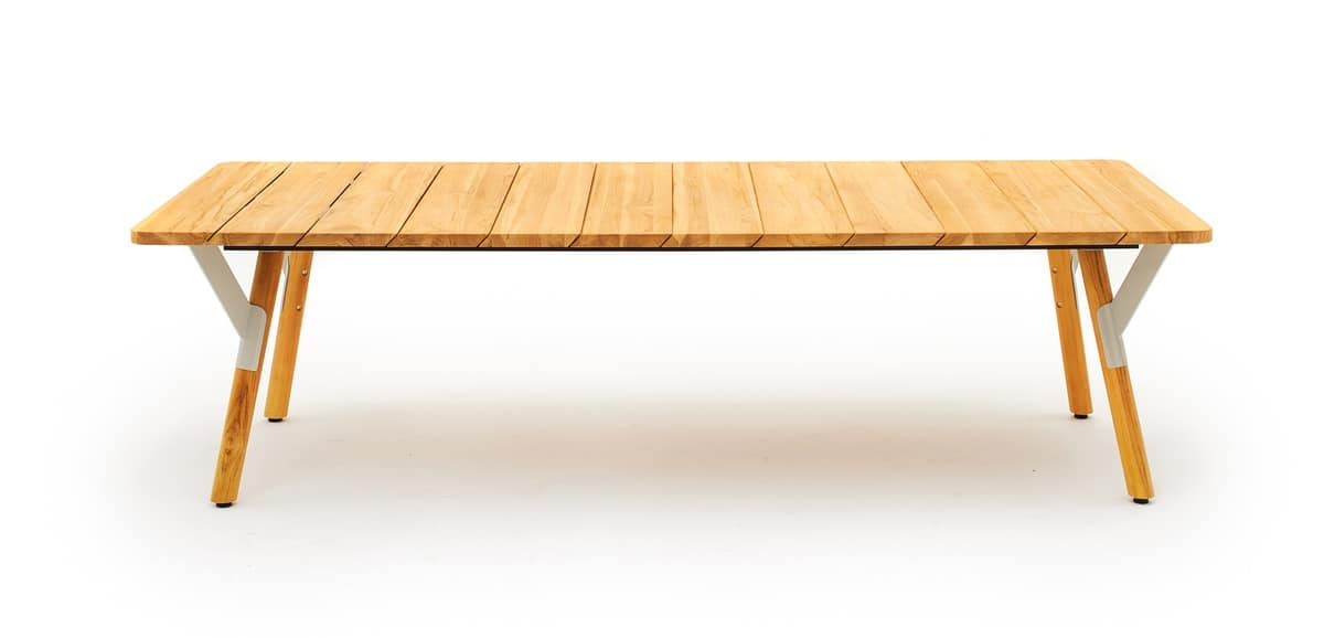 Link low table, Extendable rectangular table in painted steel and teak