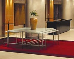 Steel & Style - Buffet, Stainless steel table with glass top, various forms available