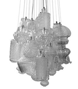 Ceraunavolta configuration 1, Modular chandelier with customizable transparent glass elements