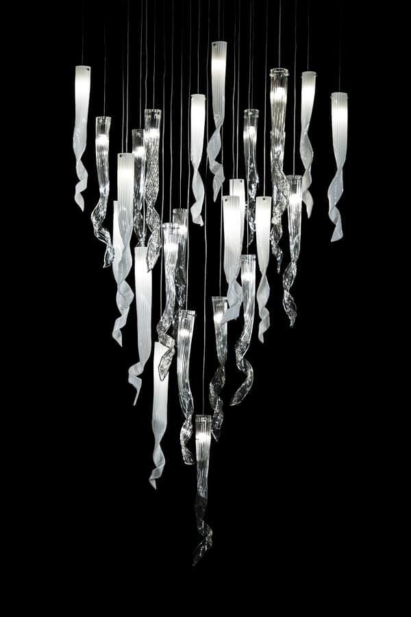 Comete hanging lamp, Chandelier in Murano glass