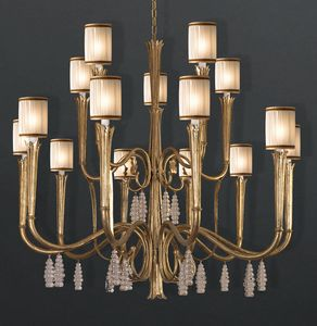 RIALTO HL1059CH-15, Lampdario in iron with crystal pendants