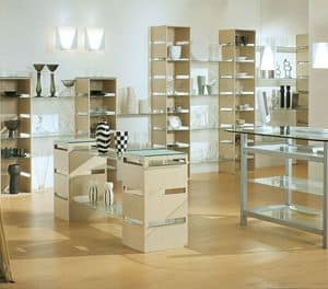 Aury 21/RE, Exhibitor modern, glass shelves, for shops and boutiques