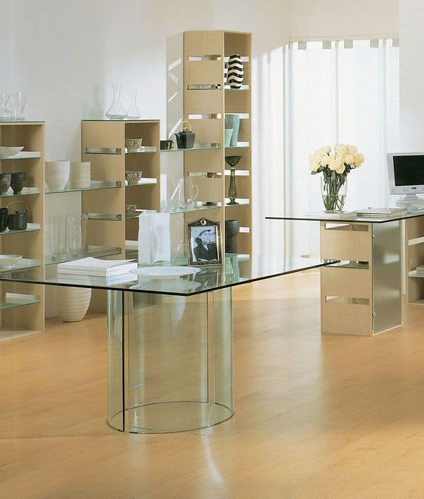 Aury 21/RT, Table to store, rectangular glass, glass base
