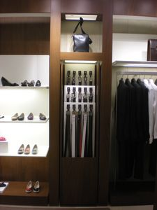 Bespoke display unit for clothes shop, Metal display elements for shops