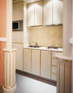 Hotel Residence Romana Kitchen, Custom kitchen for residences, made of light wood decorated