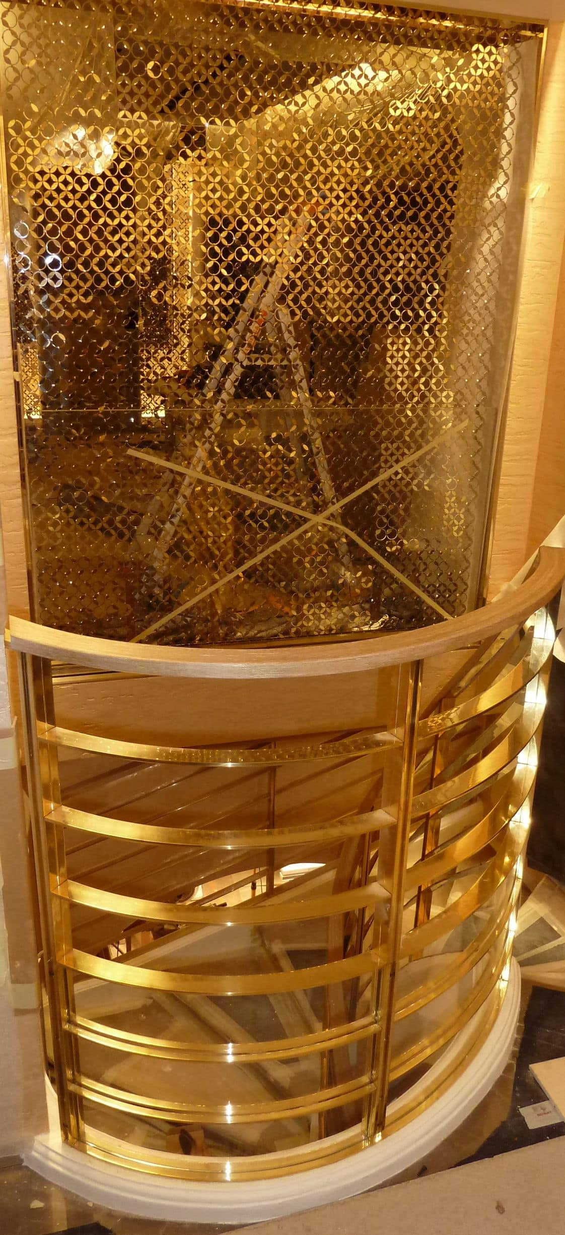Brass staircase, Parapet ladder, made to measure, in brass with spiral shape
