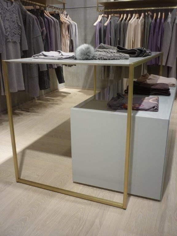 Retail clothing store fixtures in brass, Metal furniture for shops
