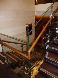 Polished stainless steel stairs, Construction and installation of monumental stairway for showrooms and hotels