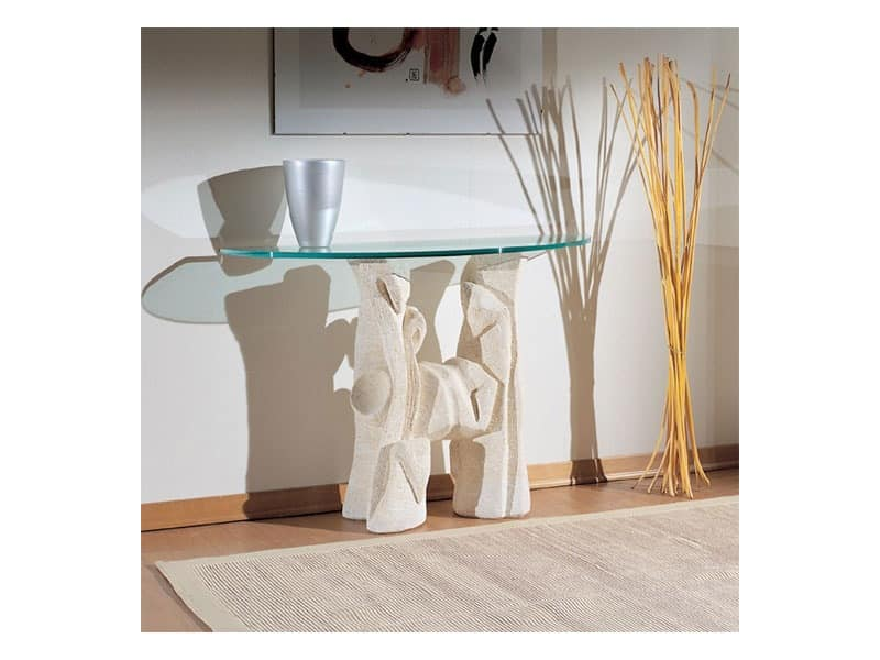 Magellano, Table with stone base for living rooms, modern style