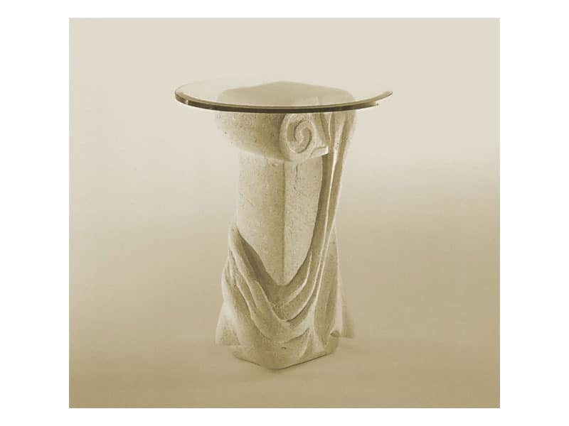 Saffo, Table with top in glass and stone column