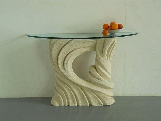 Santaclara, Table with carved base, glass top, for restaurants