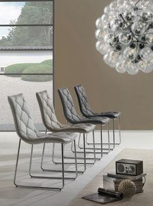 Art. 296 Giada, Chair with cantilever base, upholstered in faux leather