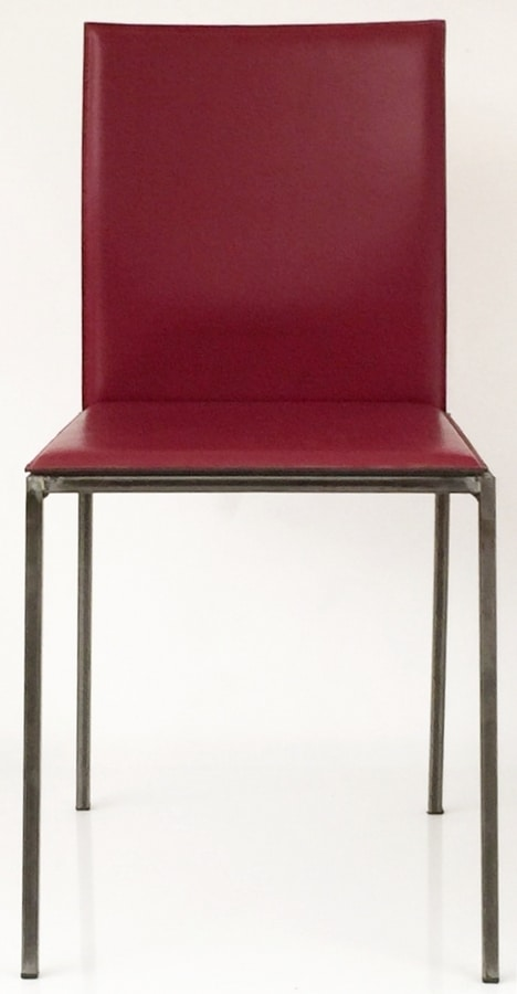 Art. 34/29, Refined metal chair, upholstered with leather