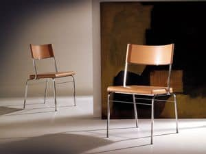 Chazuka chair, Chair with steel frame, leather seat