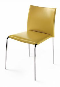 Gazzella chair 10.0300, Stackable chair, in leather