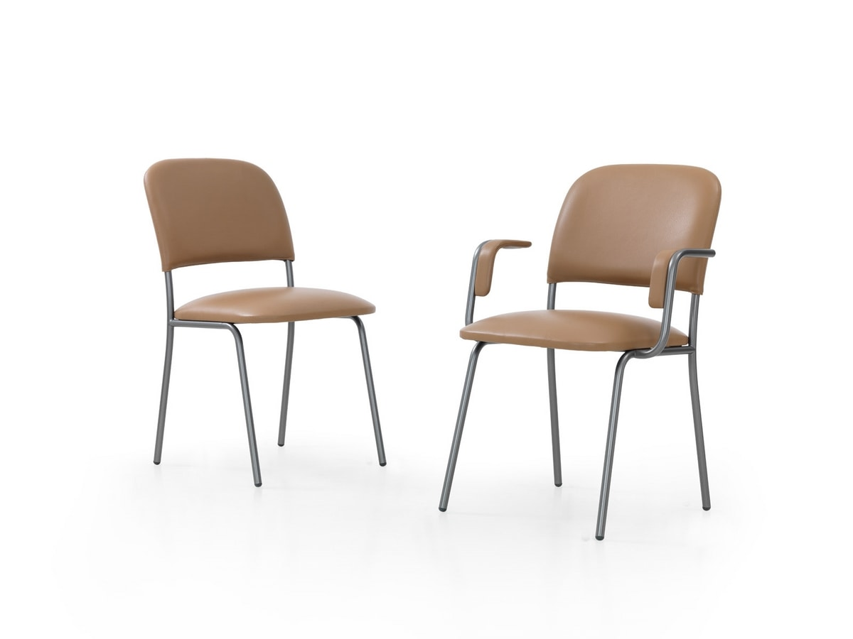 GINEVRA, Metal chair, covered in leather