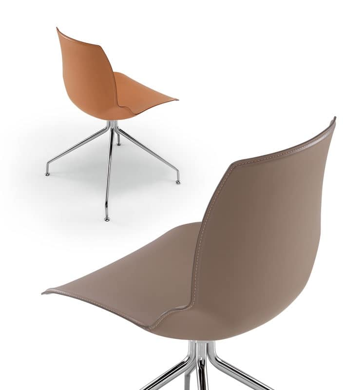 Kaleidos leather, Chair with metal frame and seat covered in leather