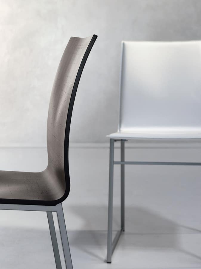 MELISSA A15, Metal chair with seat in regenerated leather