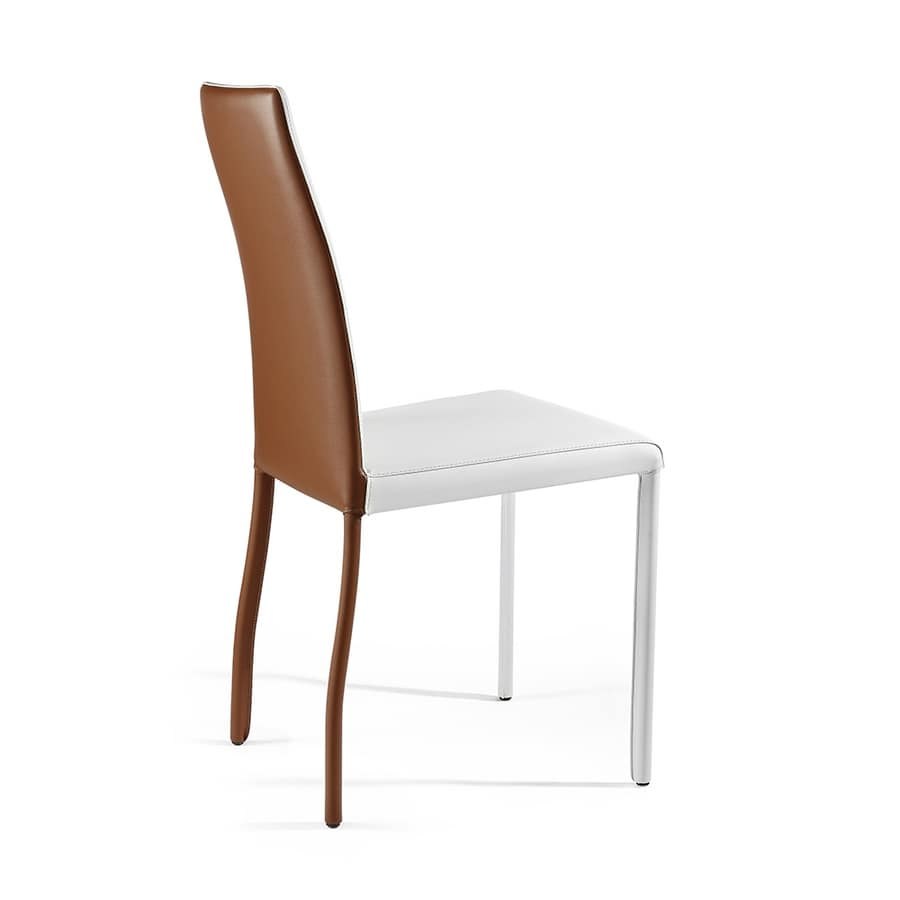 Moa bicolor, Innovative leather chair, with bi-color finish