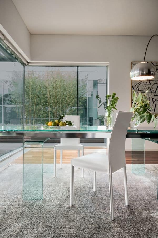PLAZA, Modern leather chair for dining room, Metal chair for kitchen