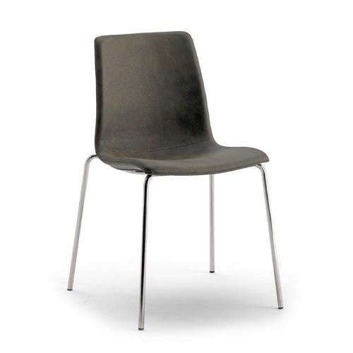Scacco, Stackable chair, upholstered in eco-leather