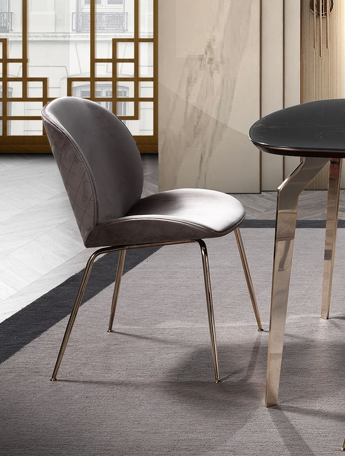 Wind chair, Enveloping dining chair, with golden legs