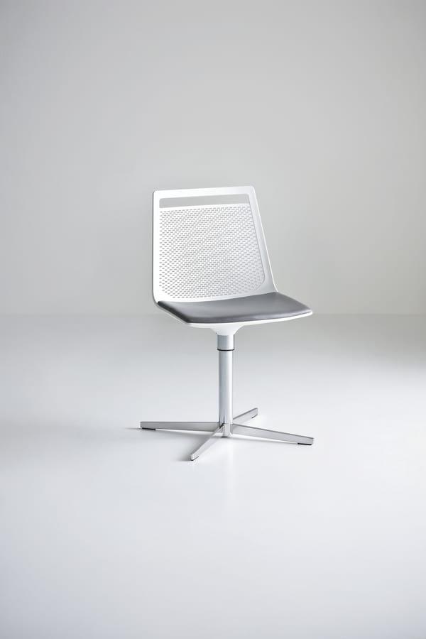 Akami L, Technopolymer chair, 4-blade base