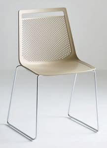 Akami S, Chair with slide metal structure, technopolymer shell