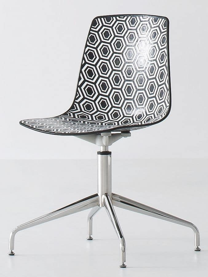 Alhambra L, Chair with swivel base with 4-spoke in chromed steel