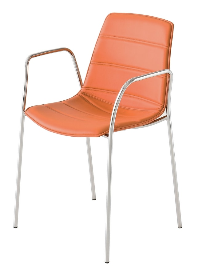 Alhambra NA, Chair with metal base, multicolored polymer shell
