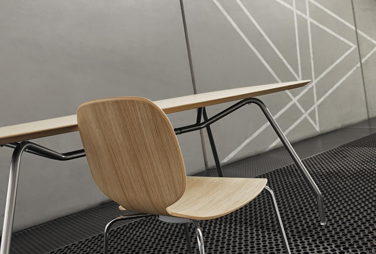 Alis 4L/LS, Stackable chair made of steel and wood