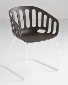 Basket Chair ST, Chair with sled metal base, shell polymer