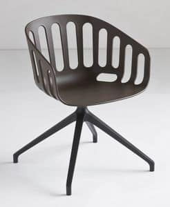 Basket Chair U, Swivel chair with metal base, sitting in polymer, for office