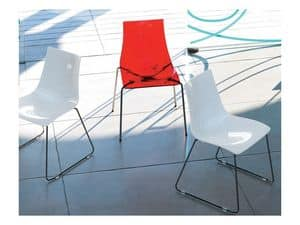 Dea Anti-scratch 2625, Polycarbonate and metal chair with scratch-resistant surface