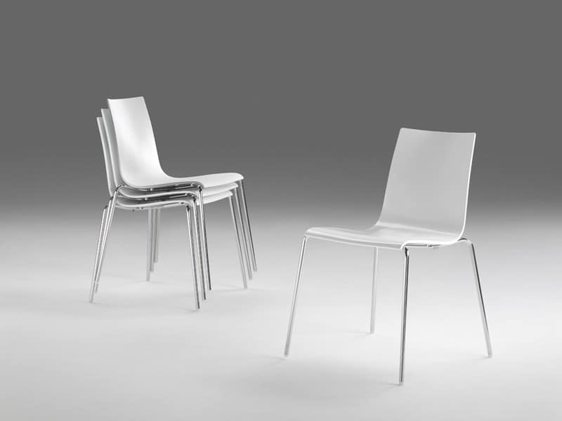 Jolly, Stackable chair made of polymer, steel structure