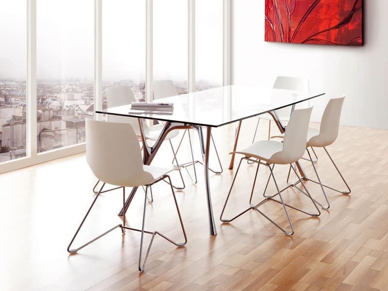 Kaleidos 5, Metal chair with polymer shell, for contract use