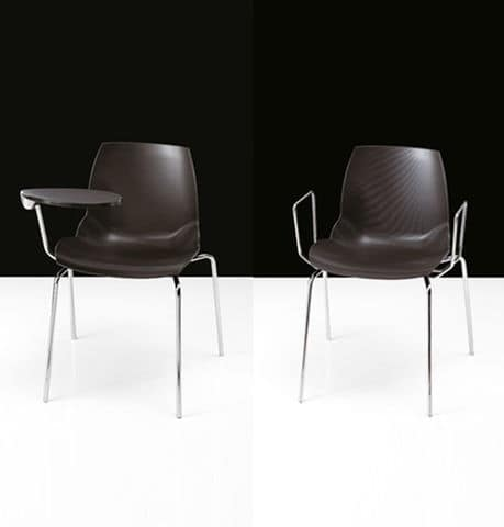Kaleidos, Chair with padded seat, covered with special polymer