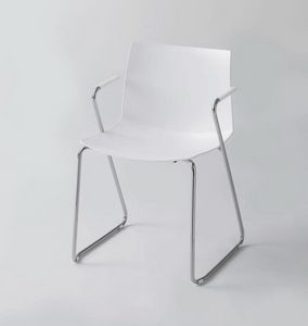 Kanvas 2 STS, White painted chair with armrests