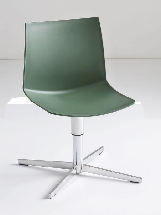 Kanvas L, Swivel chair with metal base, sitting in polymer