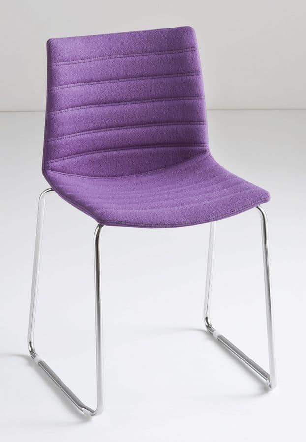 Kanvas ST, Slide stackable chair, technopolymer shell