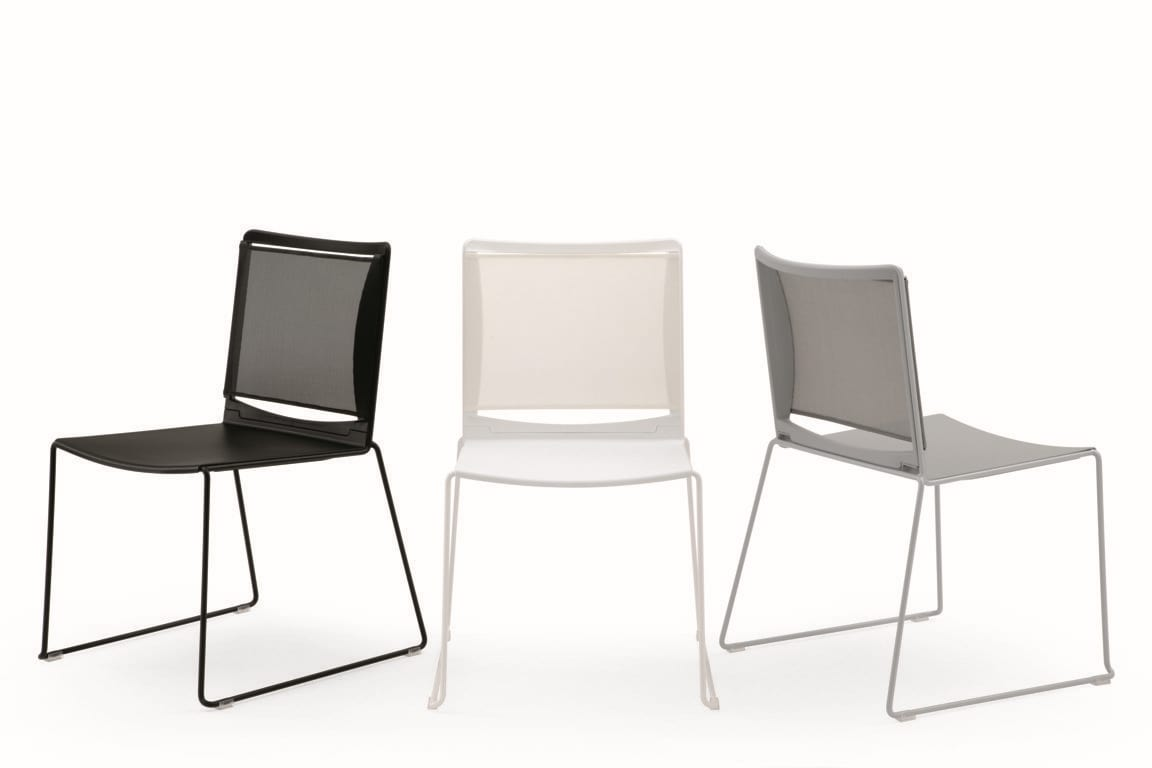 Multi mesh, Sled base chair in painted metal, mesh backrest, polypropylene seat