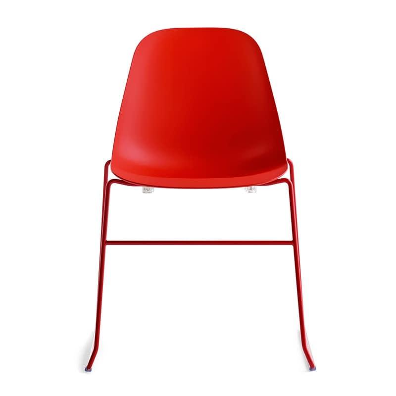 Pola Light R/SB, Linear design chair with metal base for Restaurant